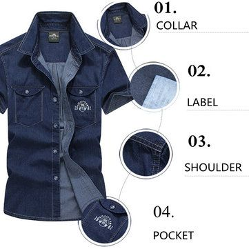 AFSJEEP Denim Plus Size Casual Thin Cotton Breathable Short Sleeve Double Chest Pockets Men Shirts at Banggood