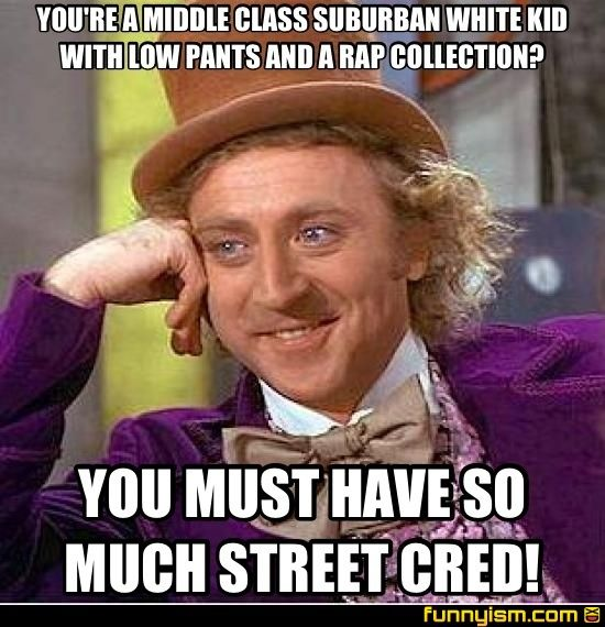 YOU'RE A MIDDLE CLASS SUBURBAN WHITE KID WITH LOW PANTS AND A RAP  COLLECTION? YOU MUST HAVE SO MUCH STREET CRED! | Meme Factory | Funnyism  Funny Pictures