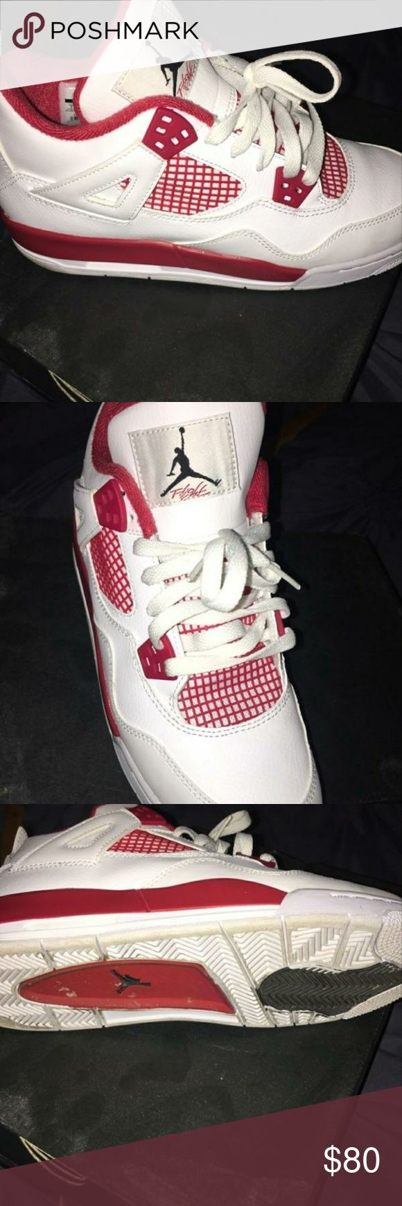 Jordans Almost new pair of red and white Jordan 4 tennis shoes. These shoes have been worn 1 time and come in original box Jordan Shoes Athletic Shoes