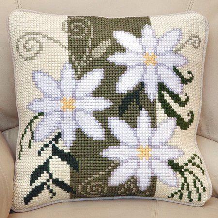 Floral Stripe Cushion Front Chunky Cross Stitch Kit | sewandso