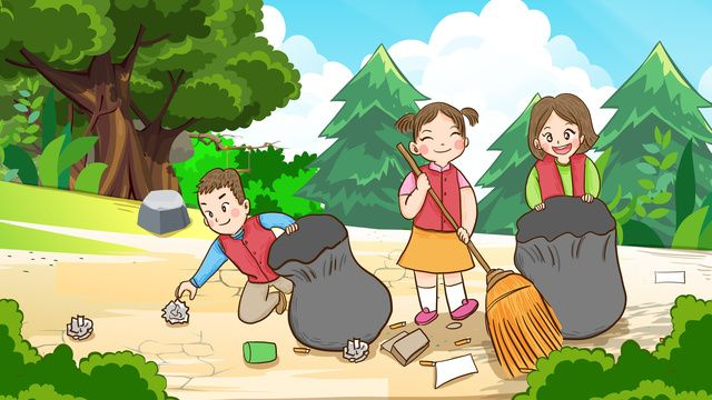 International Volunteer Day Volunteers Cleaning The Woods In International Volunteer Day Volunteer Forest Illustration Image On Pngtree Free Download On Png Cute Drawings For Kids Drawing Competition Forest Illustration