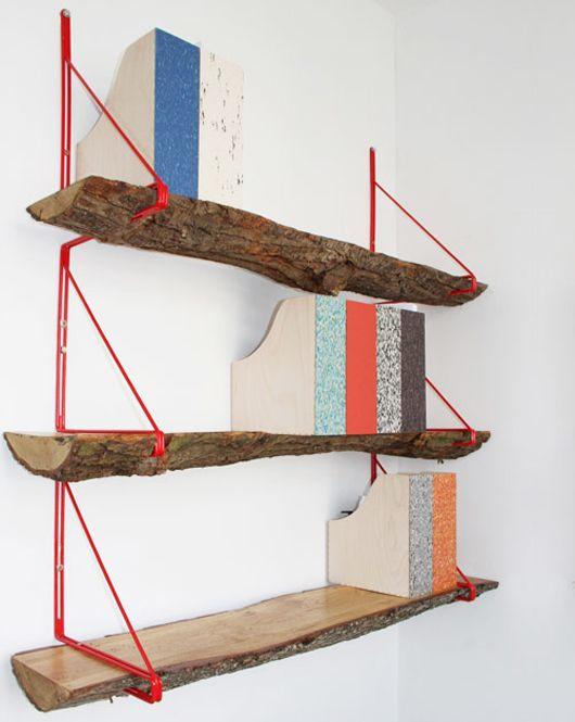 Decor, Bookshelves, Ideas, Logs, Studios Swine, Small Offices, Wood Shelves, Diy, Design