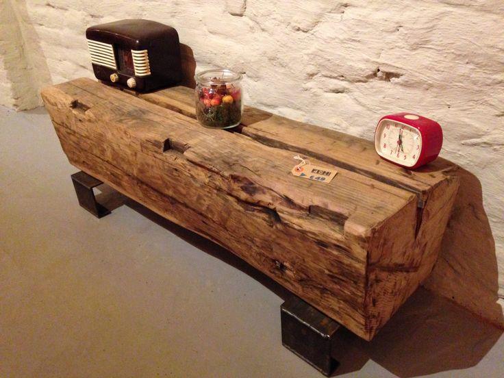 Industriële salontafel bankje bijzettafel rustiek hout en staal door…