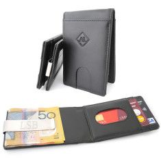 Leather wallet with personalised engraved money clip