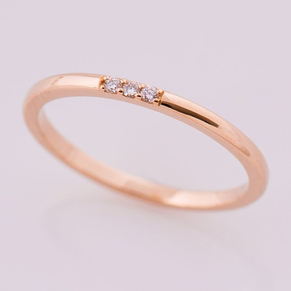 Dunne diamant Band 3 Stone Band 14K Rose Gold stapelen Ring