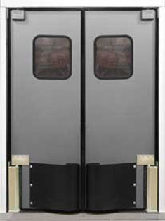 "HCP-10  Door Body: 1-1/2"" thick urethane foam core with a high strength structural PVC frame    Finish: .100"" thick high impact thermoplastic exterior    Window: 14"" x 16"" clear acrylic, double glazed set in black rubber molding.    Easy Spring Bumper: 18"" high (both sides)"