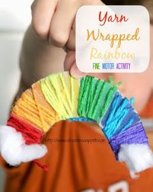 Rainbow craft for #children.  Fine motor activity - Yarn Wrapped Rainbow.  #educational #resources