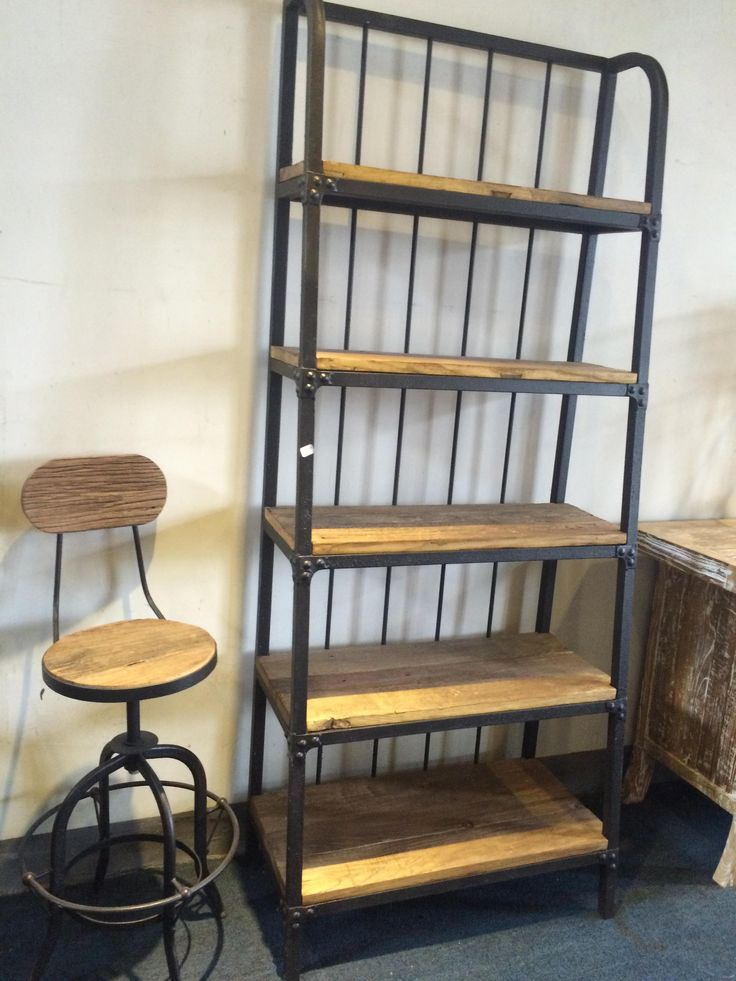 BOOKCASE-METAL SHELF & OLD ELM WOOD