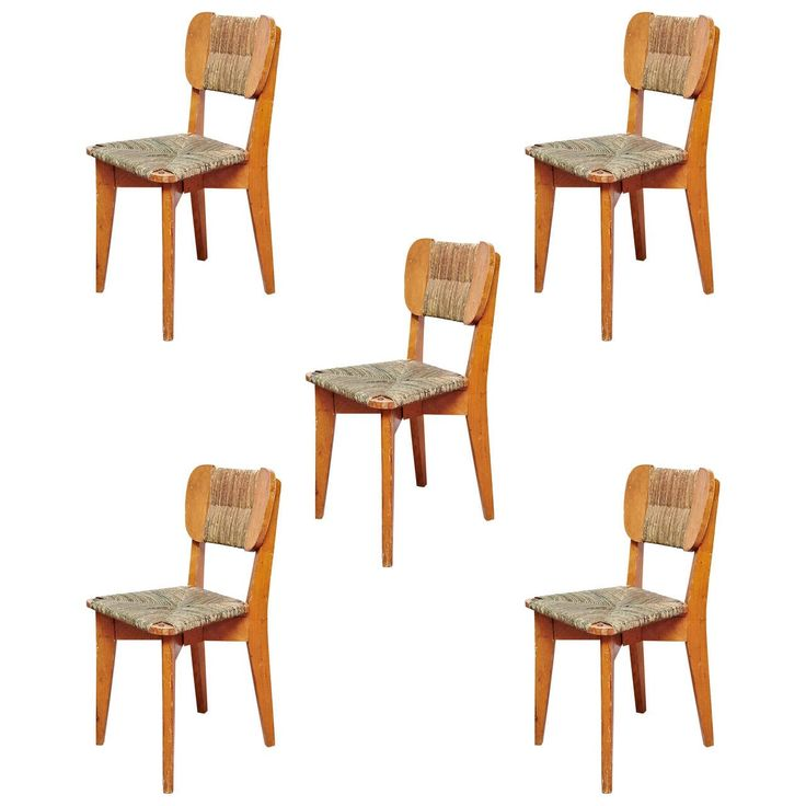 Set of Five French Dinner Chairs, circa 1950 | From a unique collection of antique and modern dining room chairs at https://www.1stdibs.com/furniture/seating/dining-room-chairs/