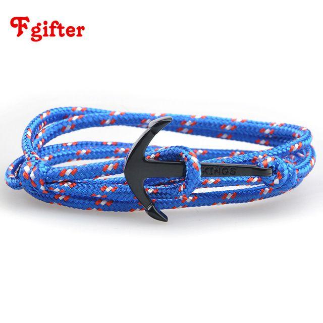 2017 DIY Rope Black Blue Tom Hope Anchor Bracelets Women Men Wrap Bracelet Wholesale Bangle - 14