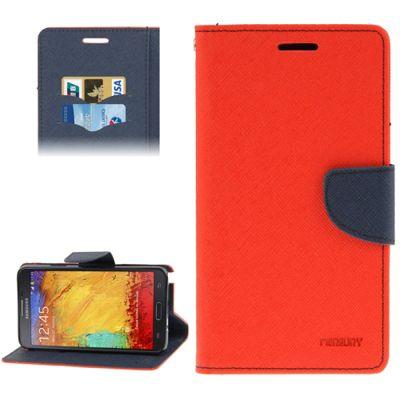 Mercury Leather Case Θήκη Πορτοφόλι Κόκκινο (Samsung Galaxy Note 3) - myThiki.gr - Θήκες Κινητών-Αξεσουάρ για Smartphones και Tablets - Χρώμα κόκκινο με μπλε δέστρα