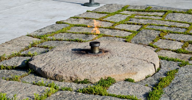 The renovated eternal flame at JFK's grave.