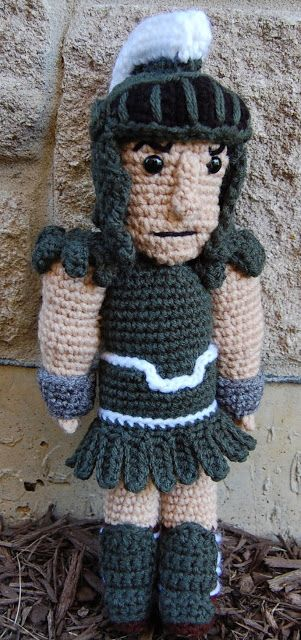 Roonie Ranching: Corey's Sparty Doll -- a free crochet amigurumi pattern -- Michigan State University Spartan mascot