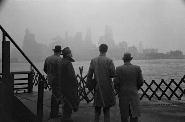 Never published. On a ferry in New York Harbor, looking at lower Manhattan, 1950.