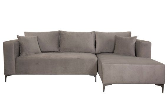 3-PC Modern Charcoal Velvet Sectional SofaBed +Sofa + Ottoman. Lounge contemporary couch Modern L-Sectional, Made in USA - on SALE