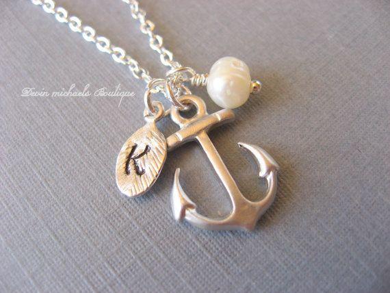 Collana di ancoraggio iniziale personalizzato mano timbrato, Nautica collana, collana di perle, ciondolo, gioielli dell