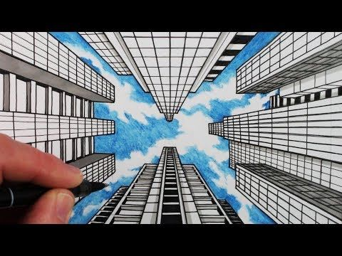 how to draw two point perspective city