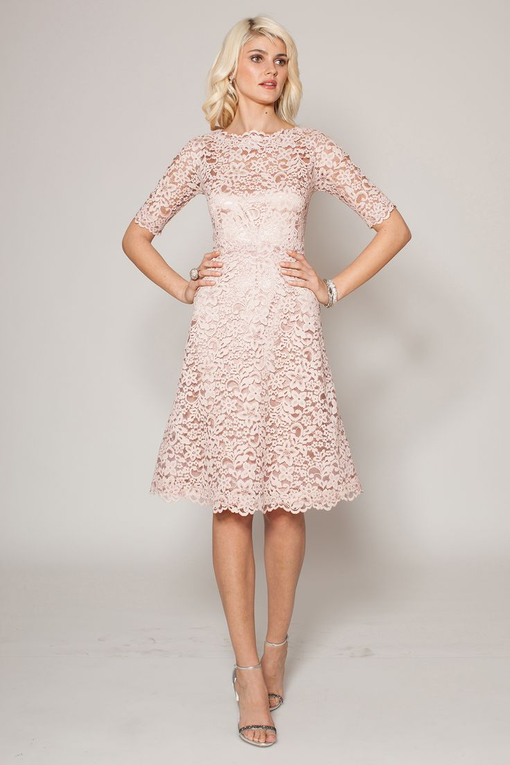 Dusty Pink Boatneck Lace Cocktail Dress