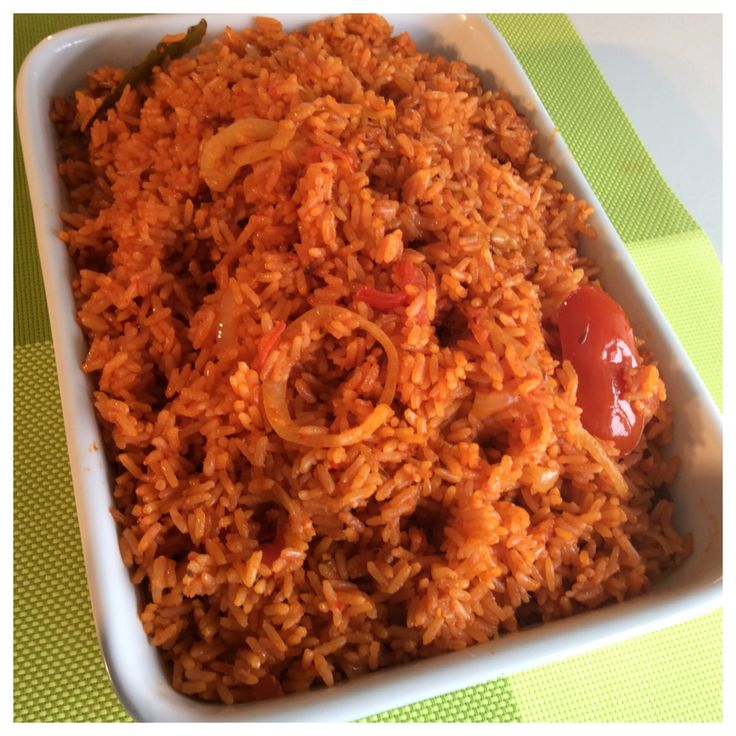 Party Jollof Rice (Nigerian) || long grain rice, red bell peppers, plum tomatoes, scotch bonnet, tomato paste, onions, butter, ginger, curry powder, thyme, knorr chicken cubes, white pepper, bay leaves