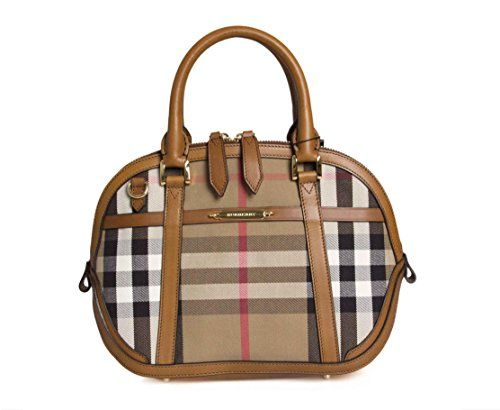 Burberry Woman's Orchard Beige Leather House Check Medium Shoulder Bag Handbag