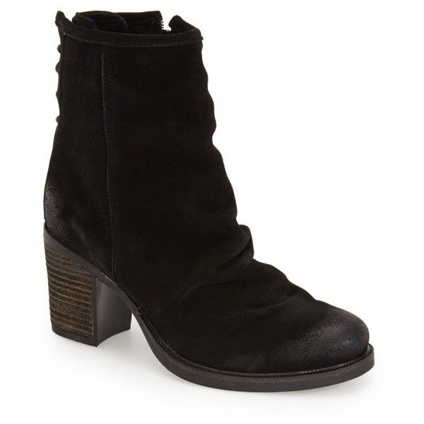 Women's Bos. & Co. 'Barlow' Waterproof Suede Bootie ($195) ❤ liked on Polyvore featuring shoes, boots, ankle booties, ankle boots, black oilsuede, black ankle bootie, waterproof ankle boots, slouch ankle boots, black slouch boots and short black boots