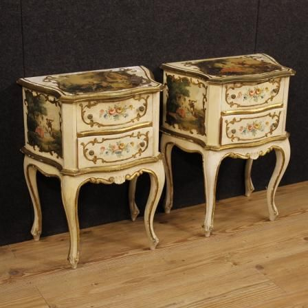790€ Pair of lacquered and golden French bedside tables 2 drawers. Visit our website www.parino.it #antiques #antiquariato #furniture #golden #antiquities #antiquario #comodino #painted #lacquered #tavolino #nightstand #table #night #decorative #interiordesign #homedecoration #antiqueshop #antiquestore