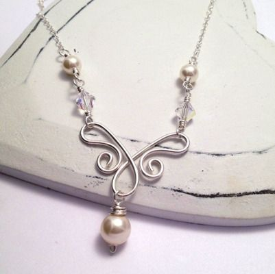 Swarovski Pearl & Crystal Sterling Silver Wirework Bridal Necklace  £45.00