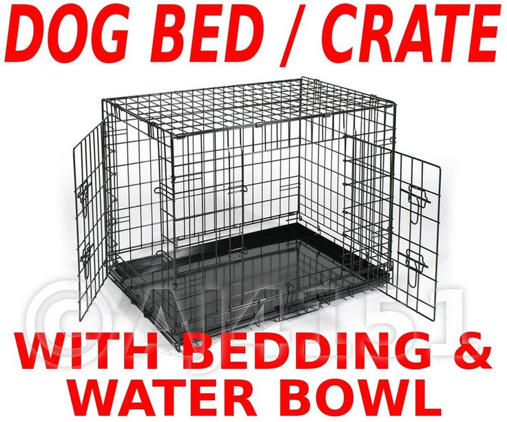 Metal Dog Crate Cage Carrier METAL BASE & BEDDING & CLIP ON BOWL Size XL 42