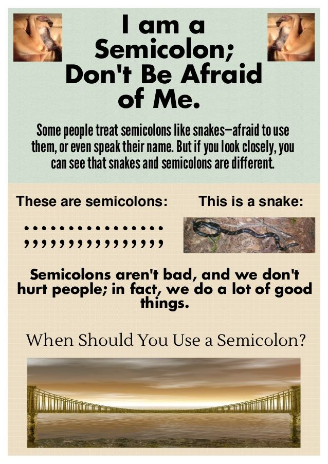 When to Use Semicolons by Inferno Publishing Company via slideshare
