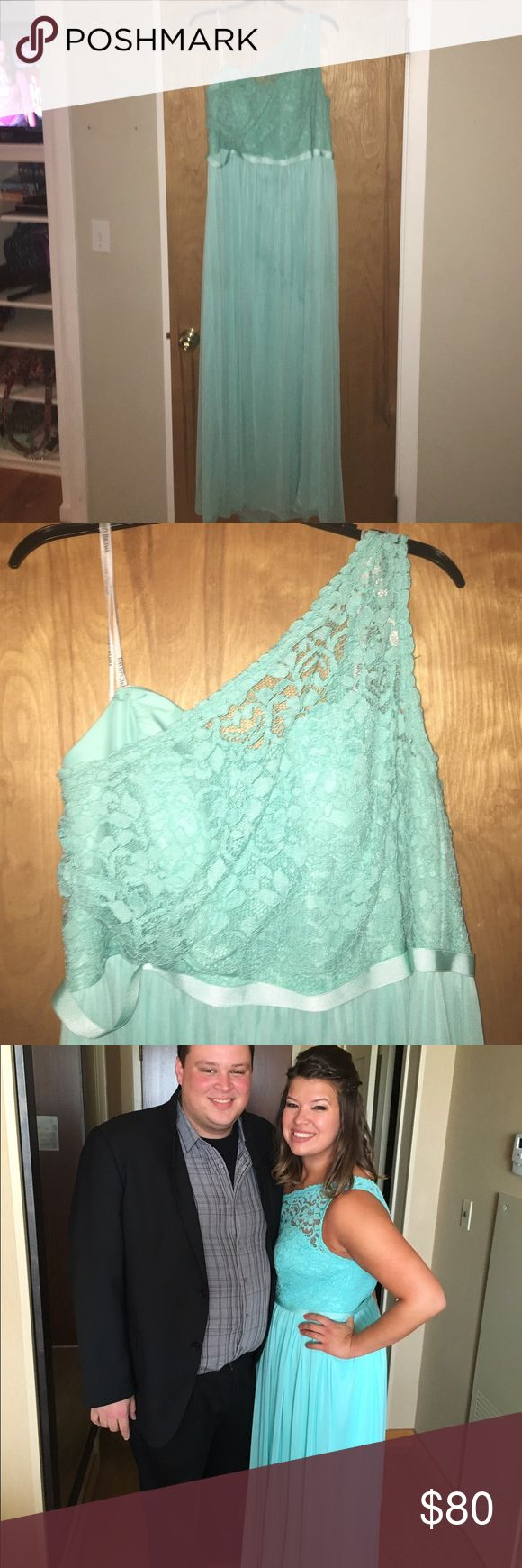 Turquoise One Strap Dress Beautiful color: almost a Tiffany blue. Lace top with a Chaffon bottom. Worn ONE TIME. Awesome Condition!! David's Bridal Dresses One Shoulder