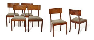 CHAIRS  Art Deco. 6 pcs. Bjerk. Arched Spineboard.  NUMBER 6 Note: Age-related wear, scratches,