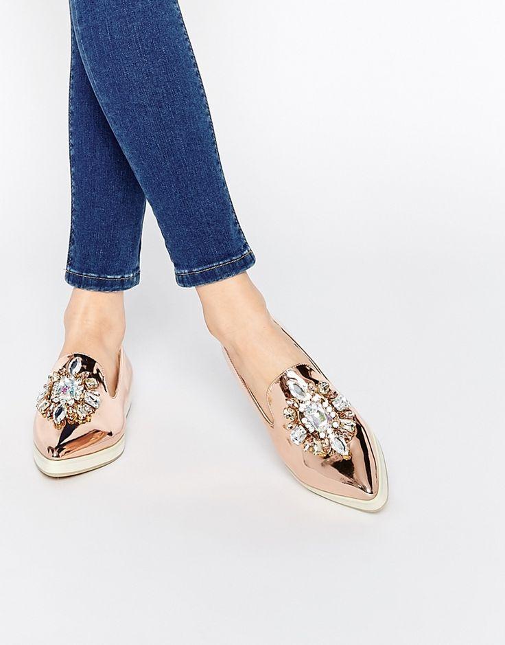 ASOS METAPHOR Embellished Flat Shoes | rose gold metallic crystal flats