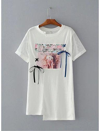Feminino Camiseta Para Noite Casual Sensual Simples Moda de Rua Verão Outono,Sólido Estampado Algodão Poliéster Outros Decote Redondo de 6108761 2017 por R$42,74