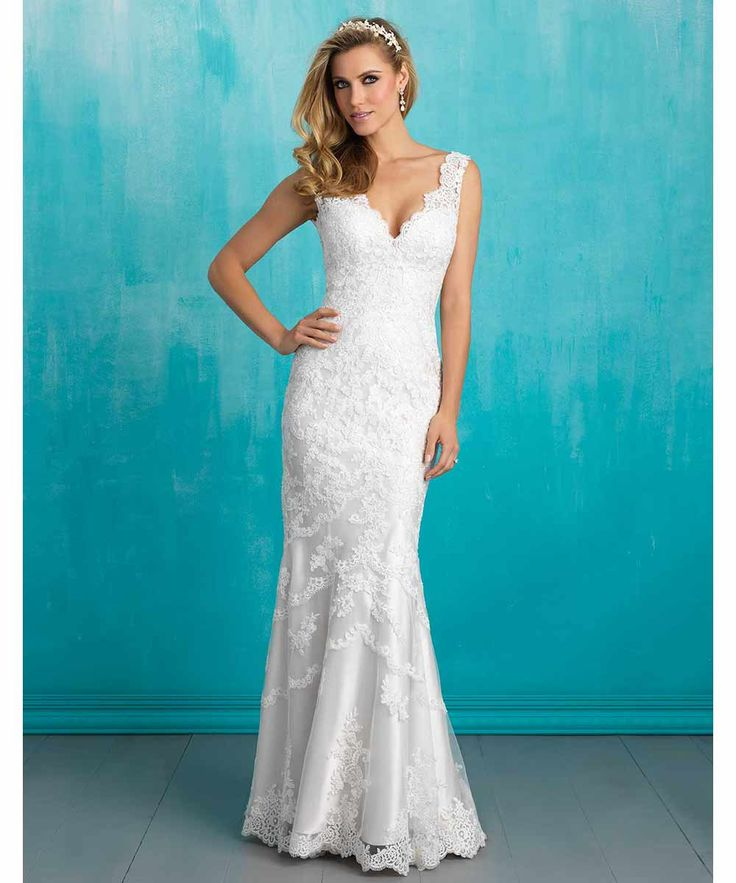 The most classic of all wedding dresses is here and petite brides are going to love it. Style 9304 by Allure Bridals has so many stunning components that all work together to create a look worthy of getting married in. The plunging neckline and thick lace straps lead into a fitted and shapely bodice that sees the lace pattern slowly fizzle out into the skirt.