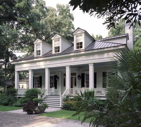 Love the porch columns and roof but would add full for Acadiana home builders
