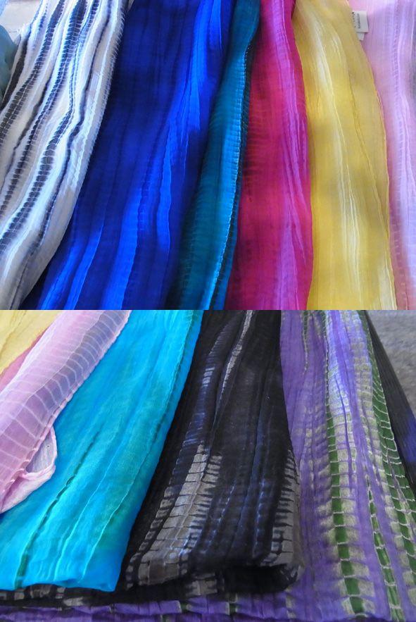 手筋絞りスカーフ シルクの心地よさ、カッコいい絞り。