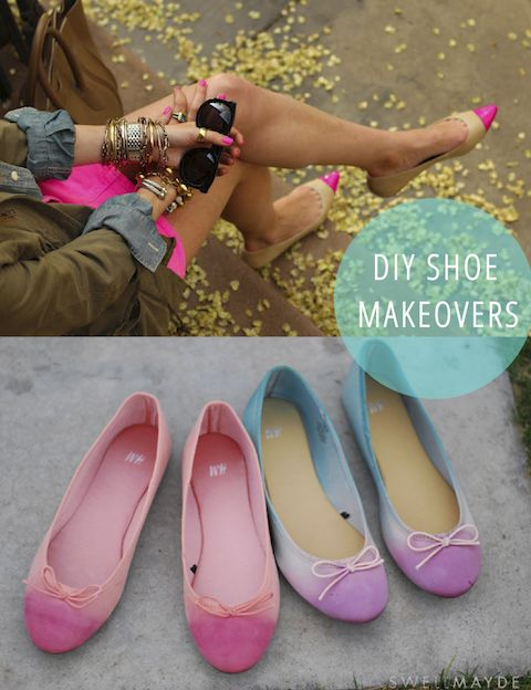 A bunch of shoe makeovers, i especially love these ballet flats inspired by anthropologie