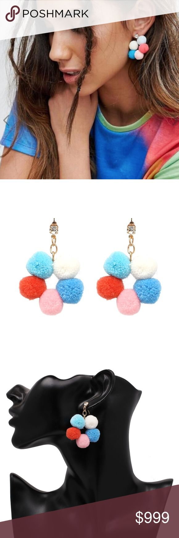 Boho Multicolor Pom Pom Bubble Ball Earrings Brand new in original packaging.  Fun 60s retro music festival bubble colorful pom pom earrings are a great way to stand out from the crowd!  Lightweight, bohemian, & trendy multicolor ball dangling earrings made of white, light blue, sky blue, blush pink & coral / orange spheres. Dangling on a gold tone chain w. clear crystal stud & post backing. All sales are final, please ask all Q's prior to purchase! Jewelry Earrings