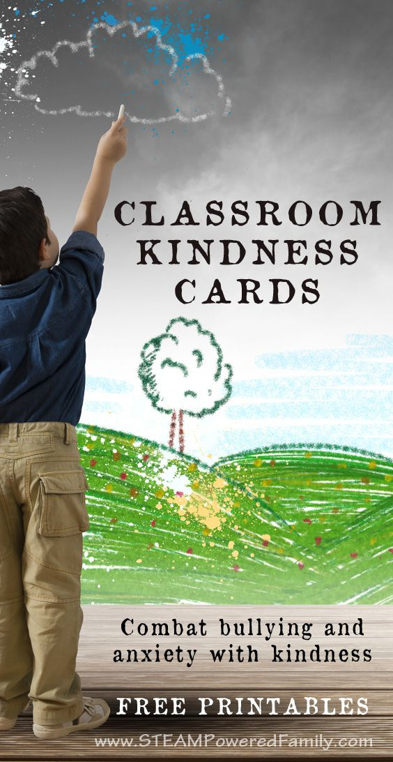 Combat bullying, discrimination and anxiety in the classroom by promoting kindness with these Classroom Kindness Cards.  via @steampoweredfam
