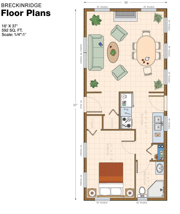 592 sq ft  Pretty nice plan, I do see some room for efficiency & use