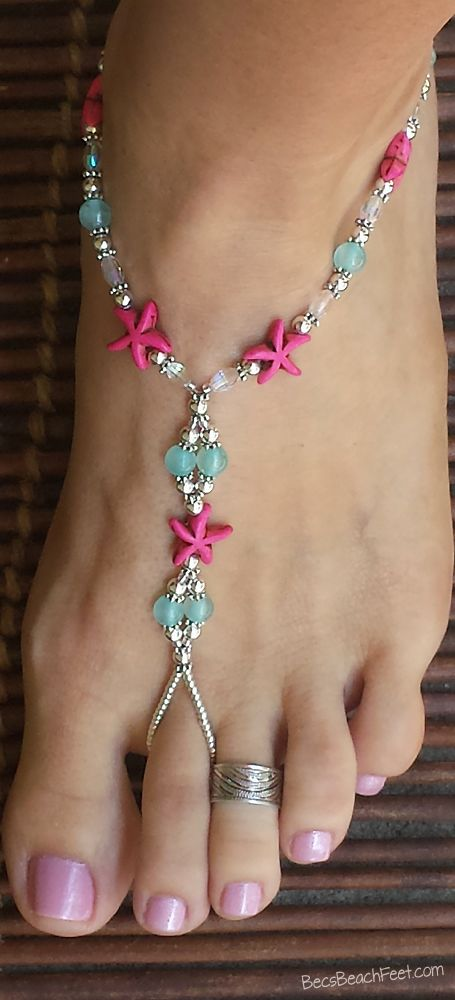 $40 Beaded Foot Jewelry Mashan Jade ♡ Fancy Judy ♡ Pink Starfish Foot Jewelry ♡ Foot Jewelry • Barefoot Sandals • Anklets • Bracelets