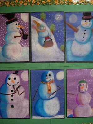 Snowmen at Night - pastel art/shading lesson 2nd grade does this with ripped paper, but adding pastel and shadow would be awesome!!