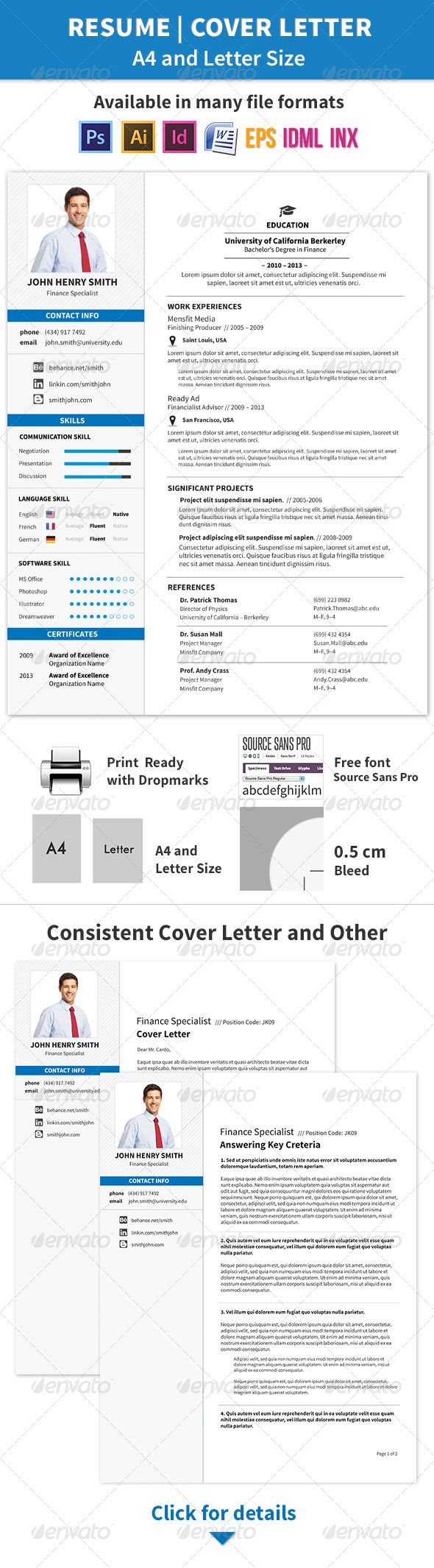 resume and cover letter a4 and letter size  graphicriver