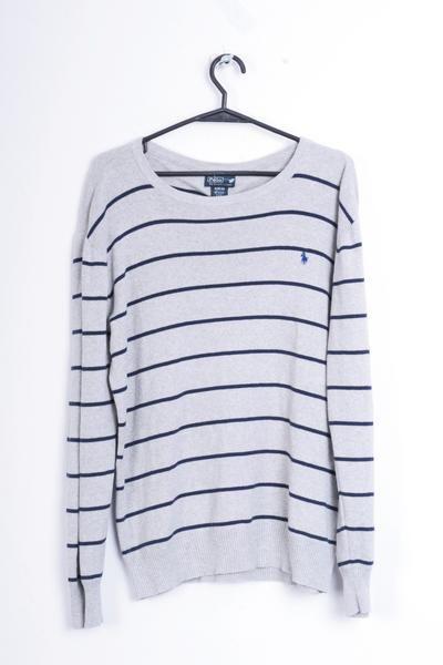 Polo by Ralph Lauren Womens XL Jumper Sweater Grey Striped Cotton - RetrospectClothes