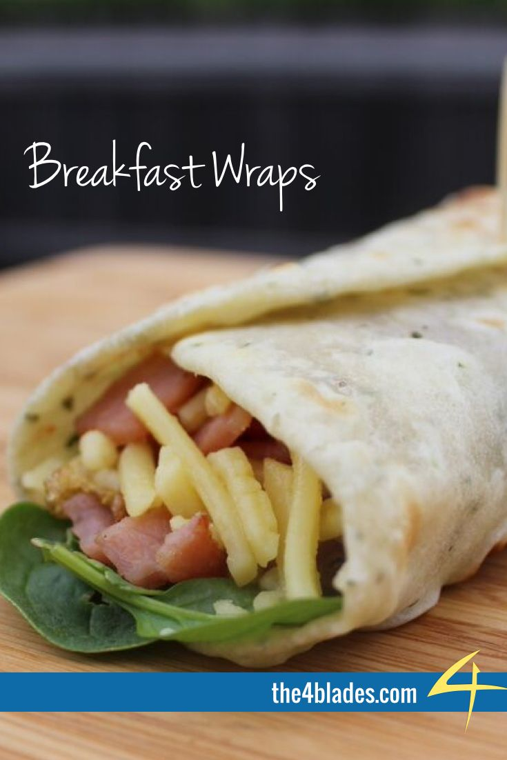 Thermomix Breakfast Wraps.   Kanye nor Jay-Z have ever produced a wrap like this.  Ingredients: flour, water, olive oil, salt, chives, eggs, bacon, spinach, BBQ sauce, Worcestershire sauce, cheese.