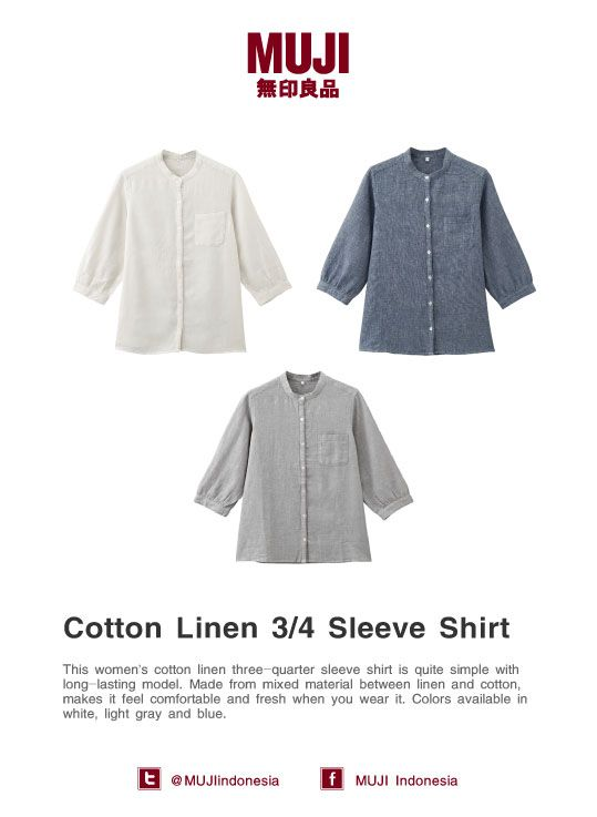 Cotton Linen 3/4 Sleeve Shirt