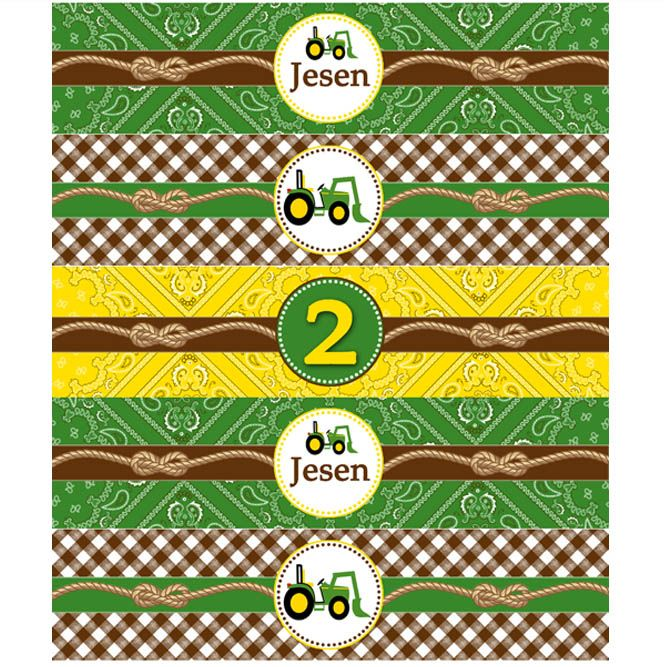 John Deere Inspired Printable DIY Water Bottle Labels Tractor Birthday Party Decorations
