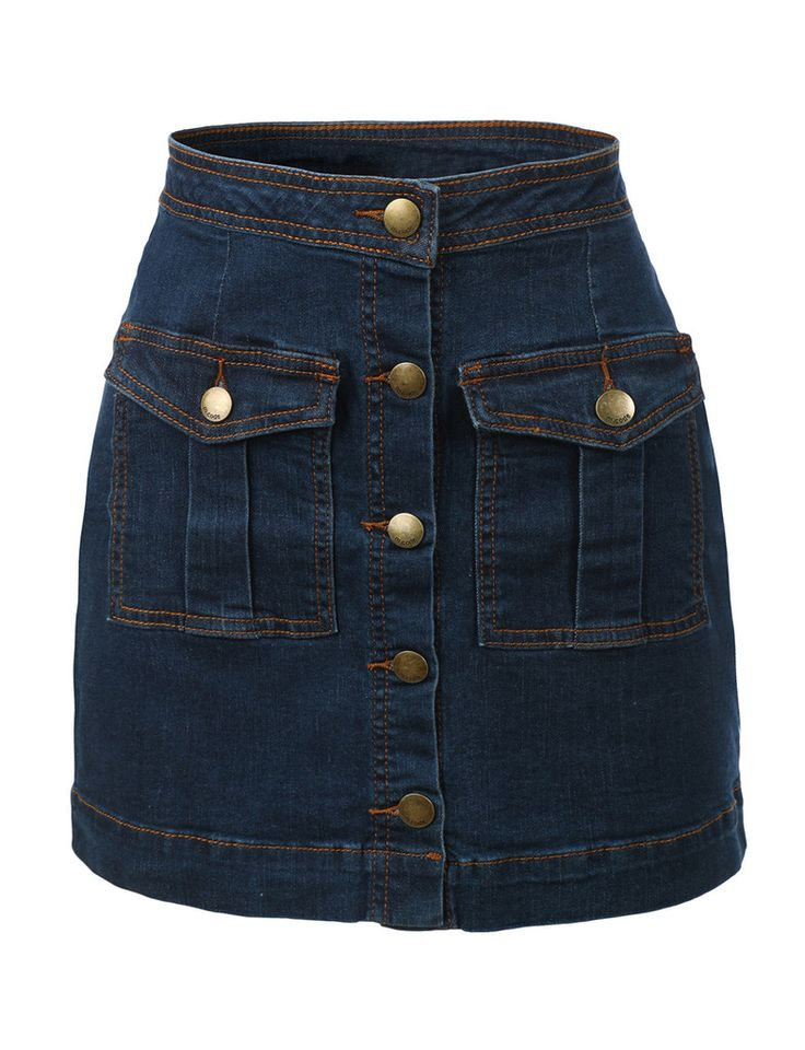 LE3NO Womens Mid Rise Denim Jean Flared Mini Skirt