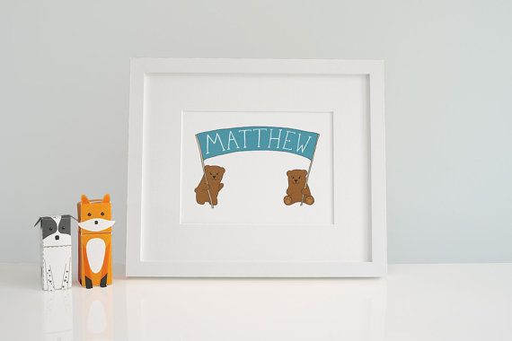 Baby Name Art - Customised Kids Print - Woodland Animals - Cute Baby Bear - Print for Kids Room - New Baby Present - Personalised Gift