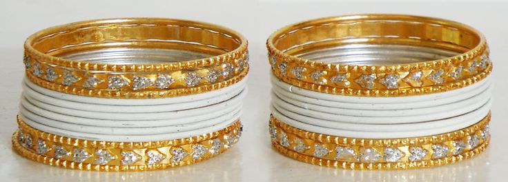 White with Golden Glitter Metal Bangles for Kids (Metal))